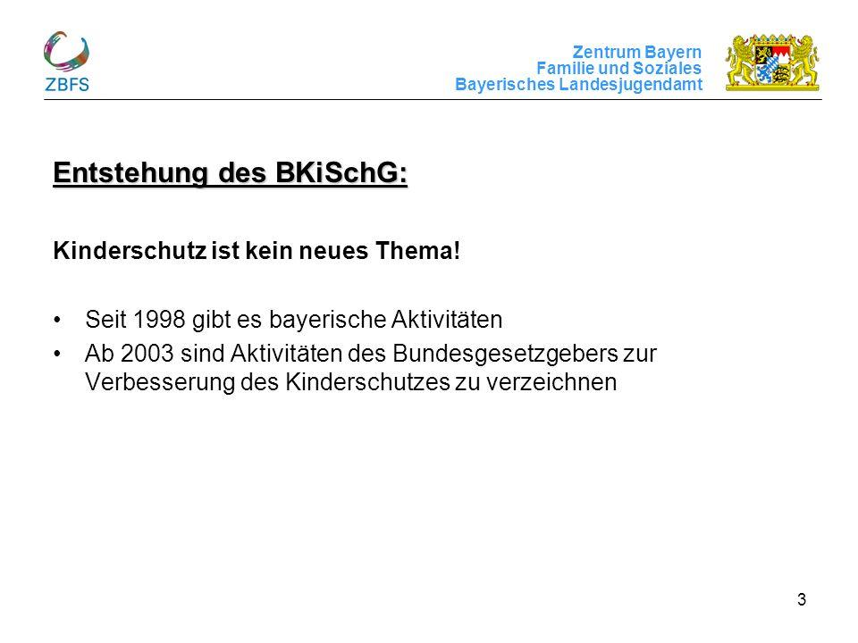 Zentrum Bayern Familie und Soziales Bayerisches Landesjugendamt 3 Entstehung des BKiSchG: Kinderschutz ist kein neues Thema! Seit 1998 gibt es bayeris