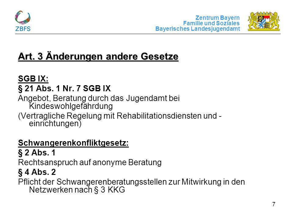 Zentrum Bayern Familie und Soziales Bayerisches Landesjugendamt 7 Art. 3 Änderungen andere Gesetze SGB IX: § 21 Abs. 1 Nr. 7 SGB IX Angebot, Beratung