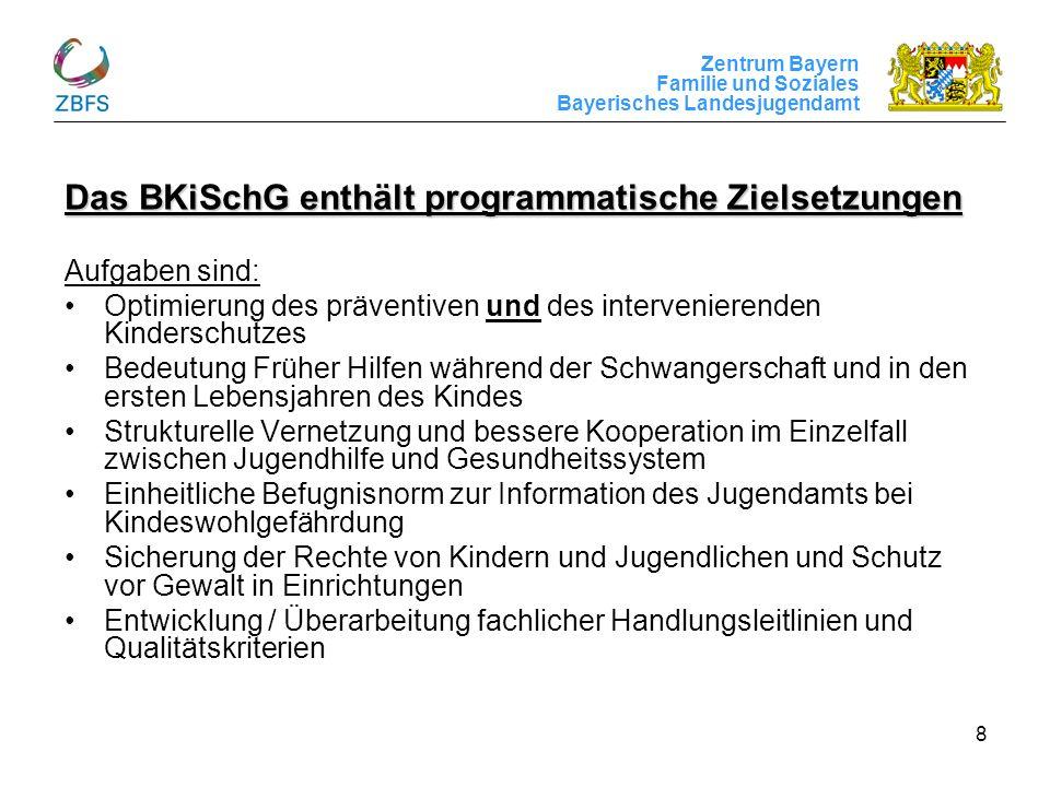 Zentrum Bayern Familie und Soziales Bayerisches Landesjugendamt 8 Das BKiSchG enthält programmatische Zielsetzungen Aufgaben sind: Optimierung des prä