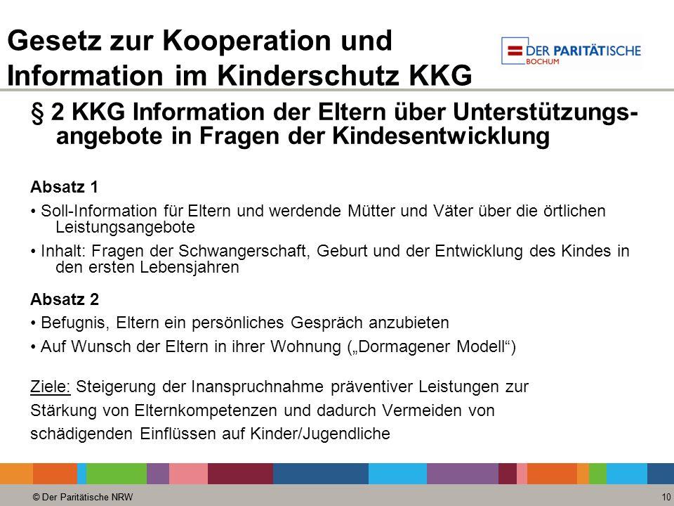 © Der Paritätische NRW 10 © Der Paritätische NRW Gesetz zur Kooperation und Information im Kinderschutz KKG § 2 KKG Information der Eltern über Unters