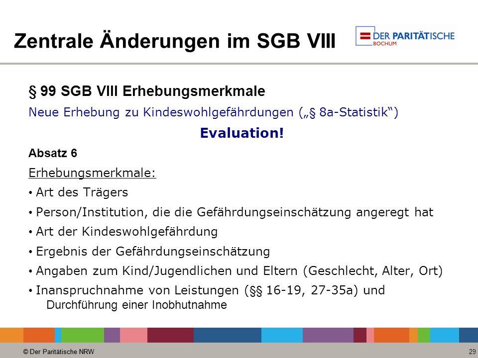 © Der Paritätische NRW 29 © Der Paritätische NRW Zentrale Änderungen im SGB VIII § 99 SGB VIII Erhebungsmerkmale Neue Erhebung zu Kindeswohlgefährdungen ( § 8a-Statistik) Evaluation.