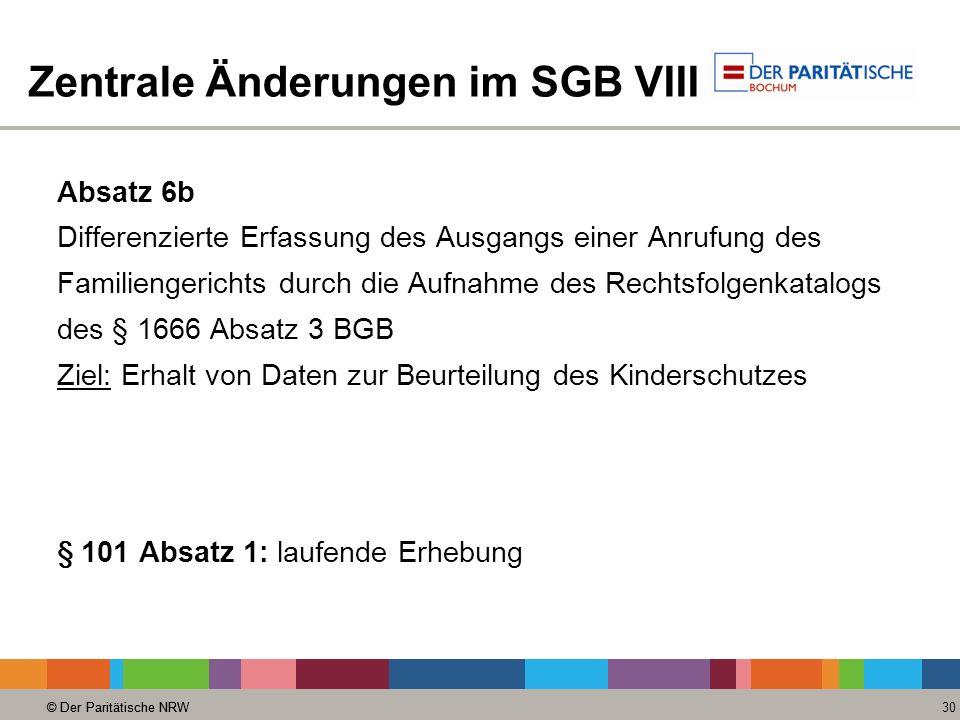 © Der Paritätische NRW 30 © Der Paritätische NRW Zentrale Änderungen im SGB VIII Absatz 6b Differenzierte Erfassung des Ausgangs einer Anrufung des Fa