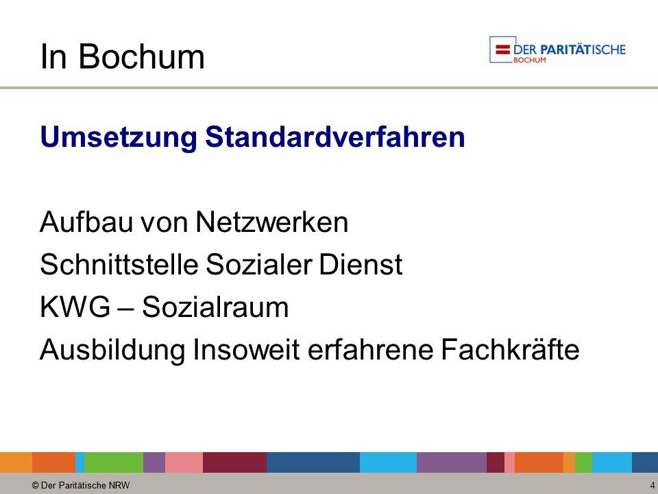 © Der Paritätische NRW 4 In Bochum Umsetzung Standardverfahren Aufbau von Netzwerken Schnittstelle Sozialer Dienst KWG – Sozialraum Ausbildung Insoweit erfahrene Fachkräfte