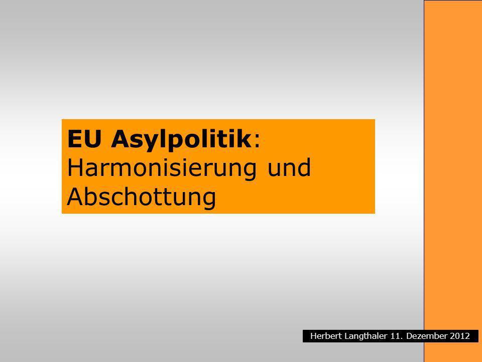 Herbert Langthaler 11. Dezember 2012 EU Asylpolitik: Harmonisierung und Abschottung