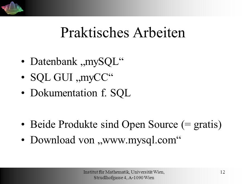 Institut für Mathematik, Universität Wien, Strudlhofgasse 4, A-1090 Wien 12 Praktisches Arbeiten Datenbank mySQL SQL GUI myCC Dokumentation f. SQL Bei
