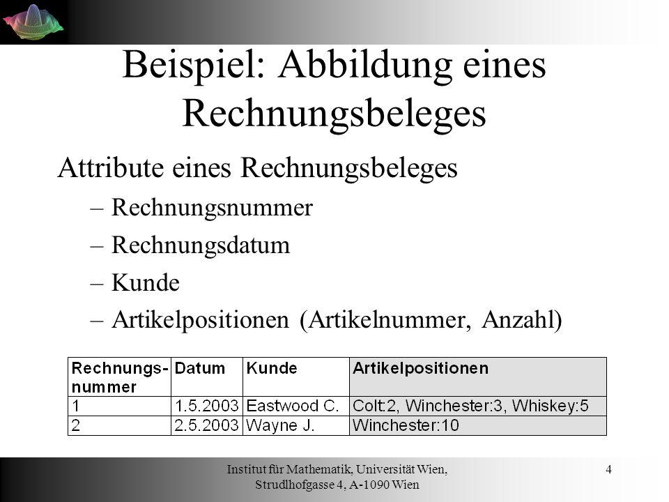 Institut für Mathematik, Universität Wien, Strudlhofgasse 4, A-1090 Wien 15 SELECT SELECT *, artikelName FROM artikelposition a, artikel b WHERE a.artikelNummer = b.artikelNummer AND rechnungsNummer = 1 ORDER BY artikelName DESC