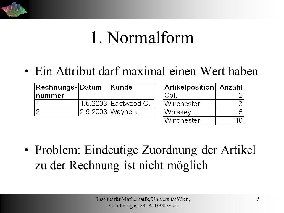 Institut für Mathematik, Universität Wien, Strudlhofgasse 4, A-1090 Wien 6 1.Normalform Zuordnung der Artikelpositionen mittels eines zusammengesetzten Primärschlüssels herstellen Primärschlüssel: Eindeutige Identifikation eines Datensatzes
