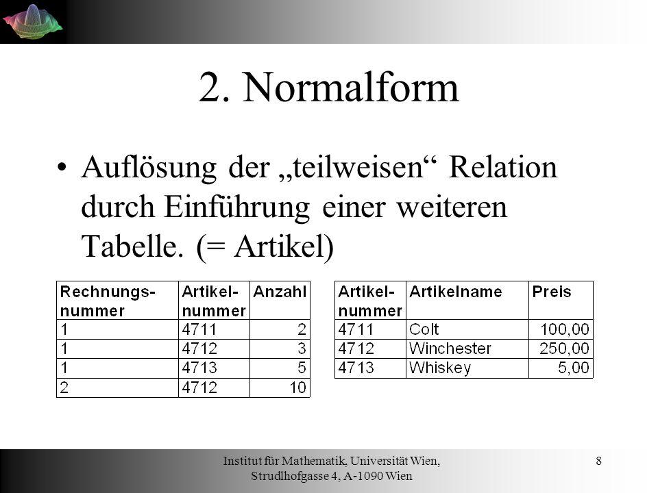 Institut für Mathematik, Universität Wien, Strudlhofgasse 4, A-1090 Wien 19 DELETE DELETE FROM rechnung WHERE rechnungsNummer = 4