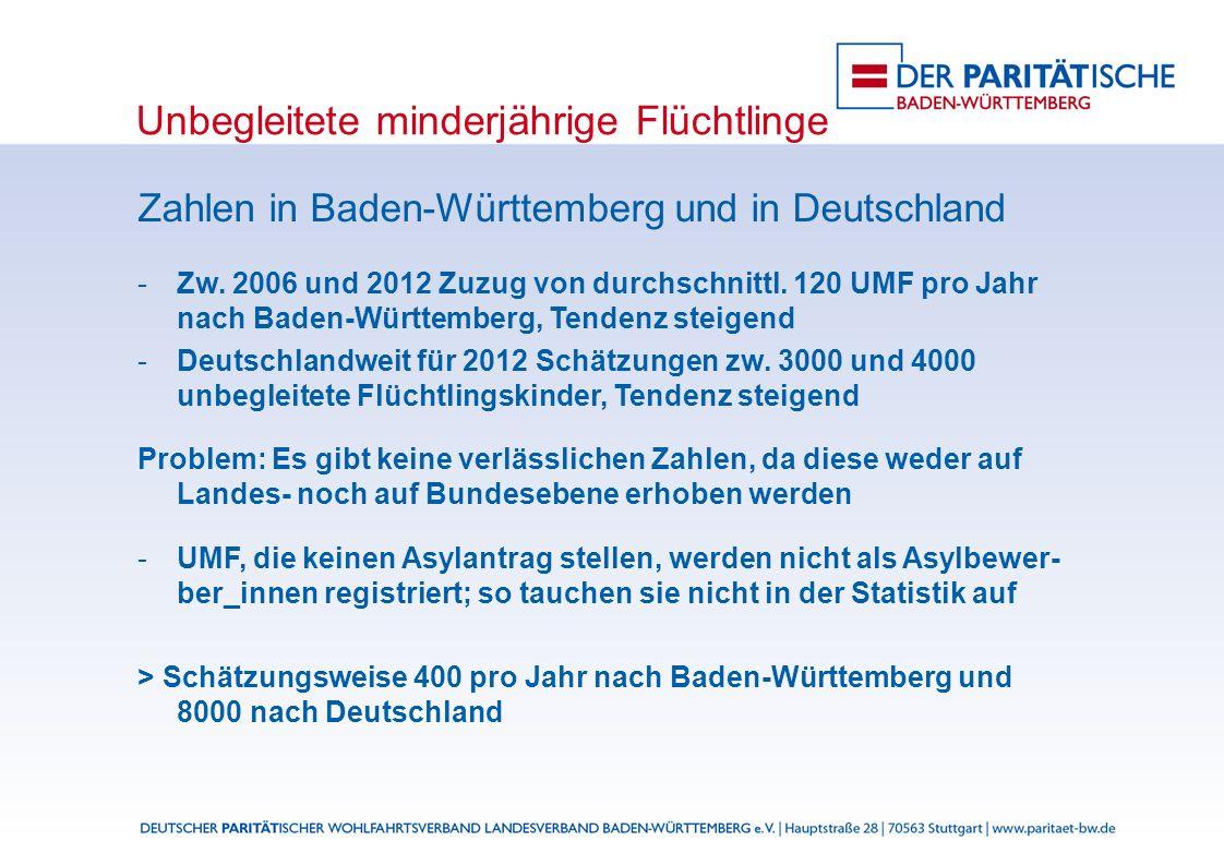 Unbegleitete minderjährige Flüchtlinge Zahlen in Baden-Württemberg und in Deutschland Zw.
