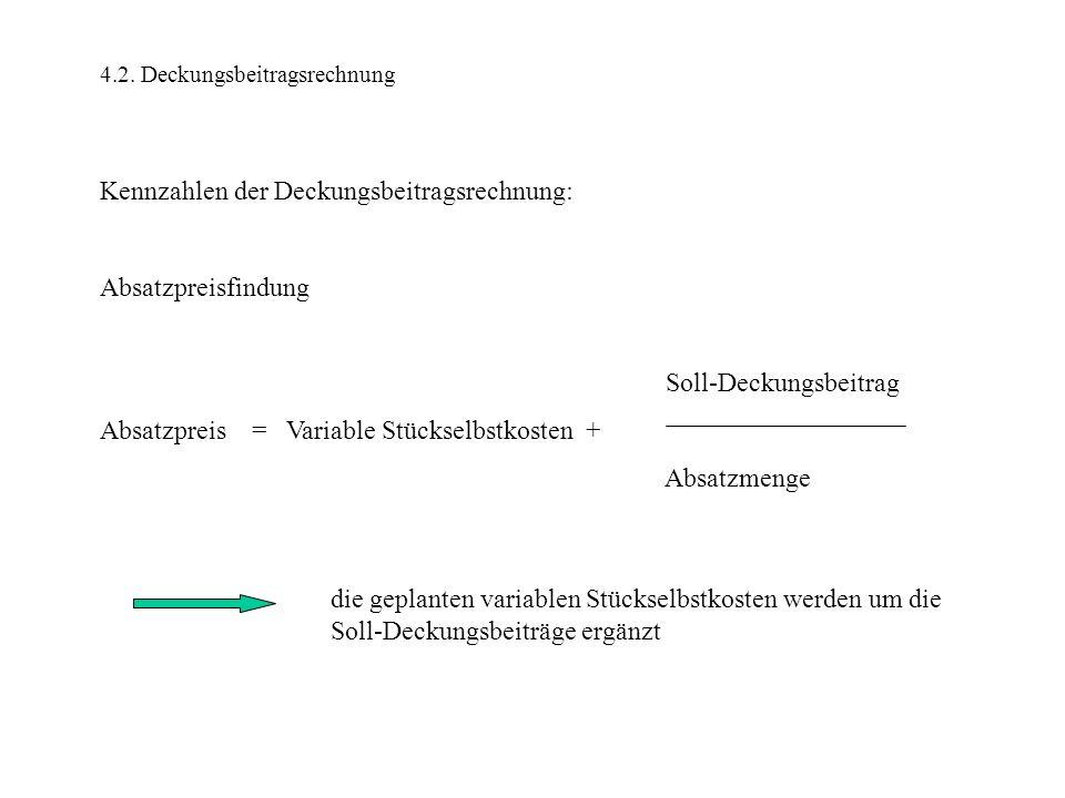 4.2. Deckungsbeitragsrechnung Kennzahlen der Deckungsbeitragsrechnung: Absatzpreisfindung Soll-Deckungsbeitrag Absatzpreis = Variable Stückselbstkoste
