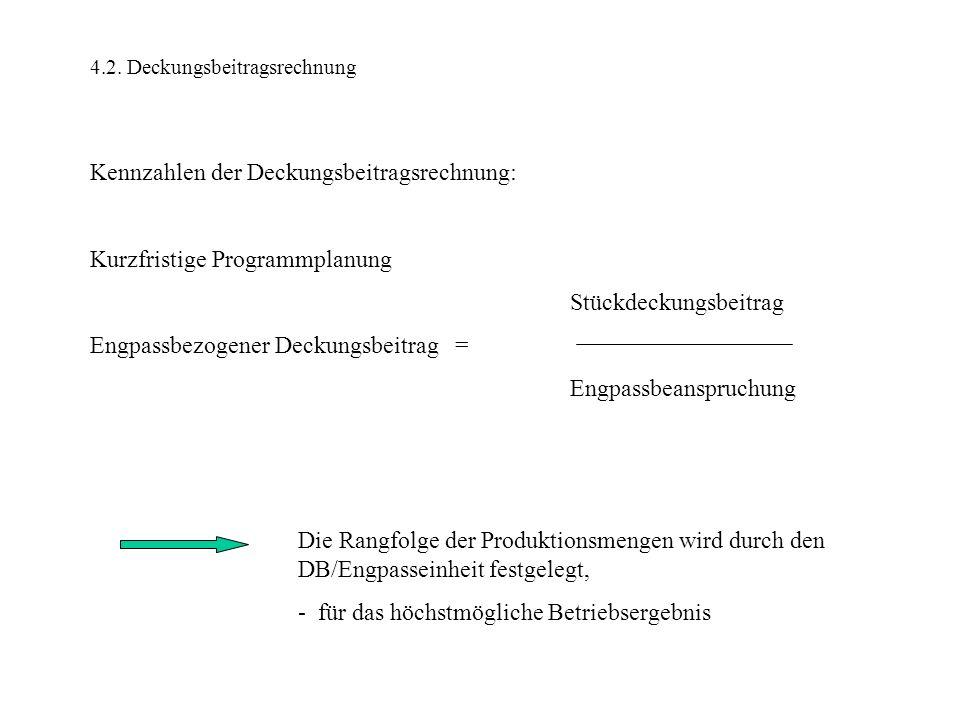 4.2. Deckungsbeitragsrechnung Kennzahlen der Deckungsbeitragsrechnung: Kurzfristige Programmplanung Stückdeckungsbeitrag Engpassbezogener Deckungsbeit