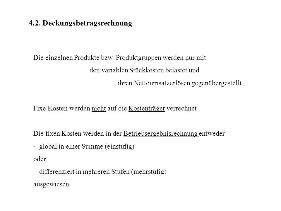 4.2.Deckungsbetragsrechnung Die einzelnen Produkte bzw.