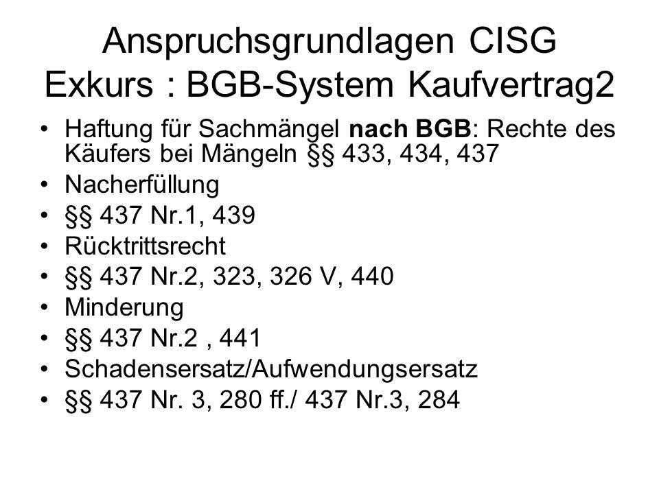 Anspruchsgrundlagen CISG Exkurs : BGB-System Kaufvertrag2 Haftung für Sachmängel nach BGB: Rechte des Käufers bei Mängeln §§ 433, 434, 437 Nacherfüllu