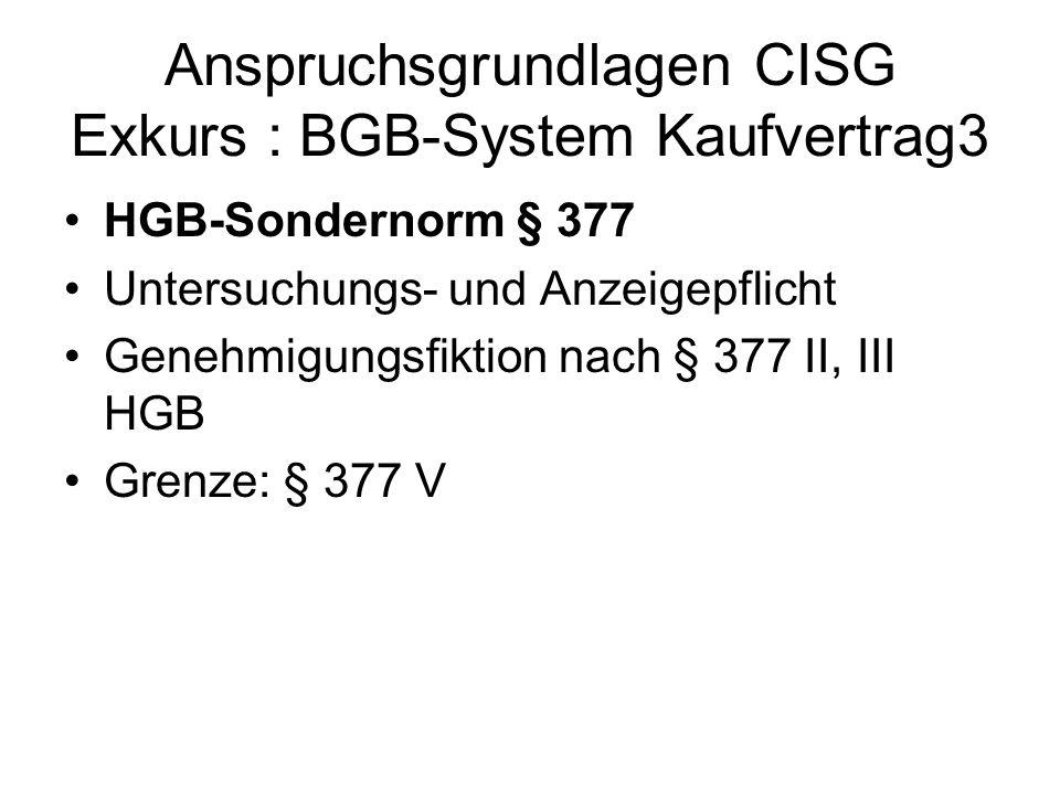 Anspruchsgrundlagen CISG Exkurs : BGB-System Kaufvertrag3 HGB-Sondernorm § 377 Untersuchungs- und Anzeigepflicht Genehmigungsfiktion nach § 377 II, II