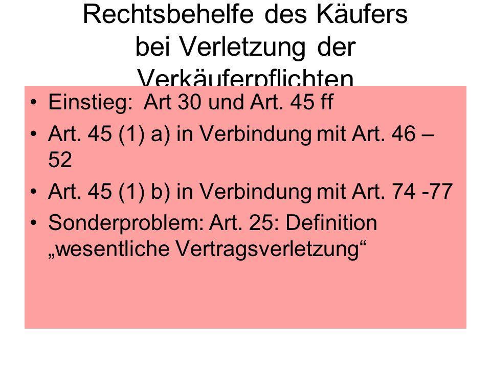 Rechtsbehelfe des Käufers bei Verletzung der Verkäuferpflichten Einstieg: Art 30 und Art. 45 ff Art. 45 (1) a) in Verbindung mit Art. 46 – 52 Art. 45