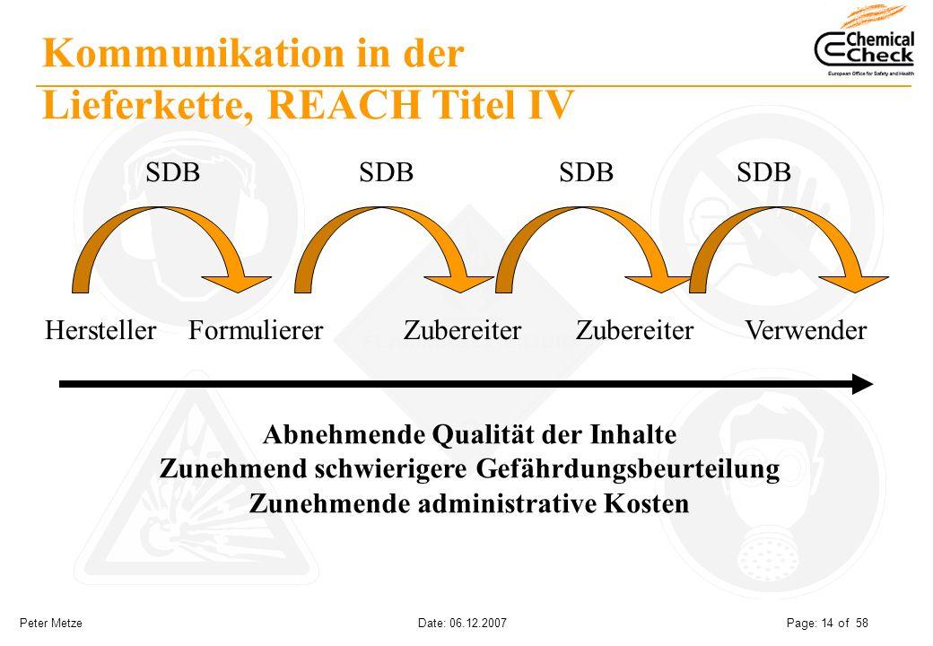 Peter Metze Date: 06.12.2007 Page: 14 of 58 Kommunikation in der Lieferkette, REACH Titel IV HerstellerFormulierer Zubereiter Zubereiter Verwender SDB