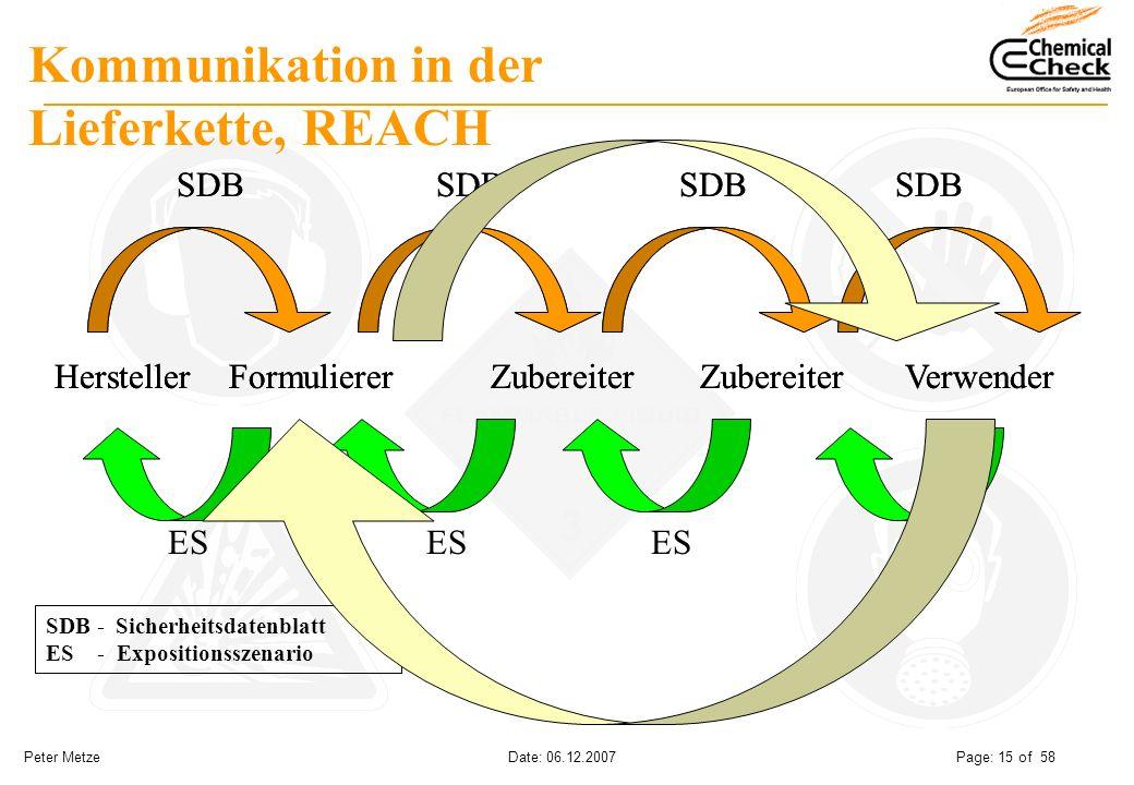 Peter Metze Date: 06.12.2007 Page: 15 of 58 SDB - Sicherheitsdatenblatt ES - Expositionsszenario Kommunikation in der Lieferkette, REACH HerstellerFor