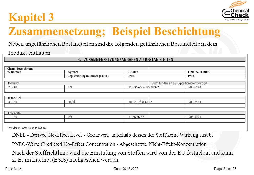 Peter Metze Date: 06.12.2007 Page: 21 of 58 Kapitel 3 Zusammensetzung; Beispiel Beschichtung Nach der Stoffrichtlinie wird die Einstufung von Stoffen