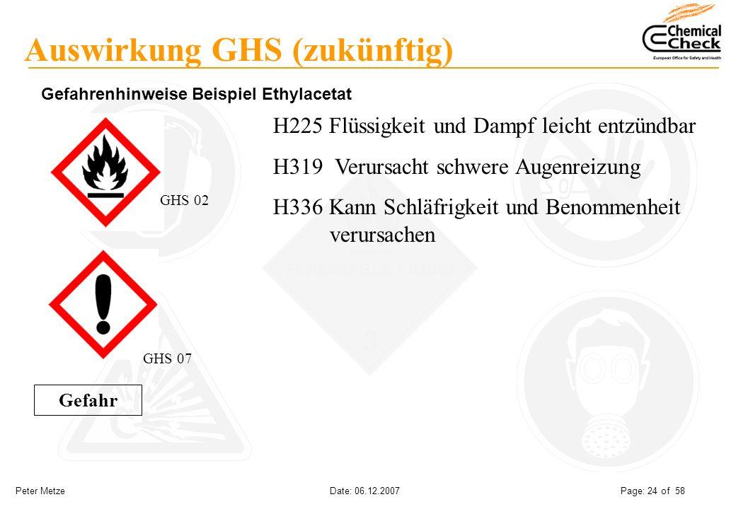 Peter Metze Date: 06.12.2007 Page: 24 of 58 Auswirkung GHS (zukünftig) Gefahrenhinweise Beispiel Ethylacetat H225 Flüssigkeit und Dampf leicht entzünd