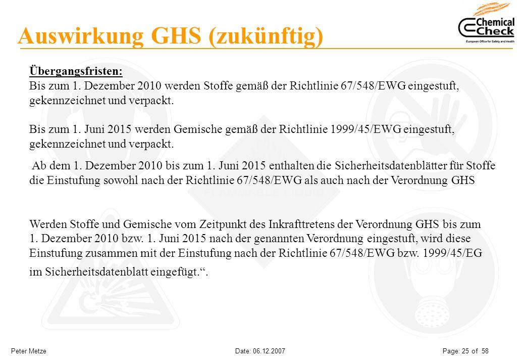 Peter Metze Date: 06.12.2007 Page: 25 of 58 Auswirkung GHS (zukünftig) Übergangsfristen: Bis zum 1. Dezember 2010 werden Stoffe gemäß der Richtlinie 6