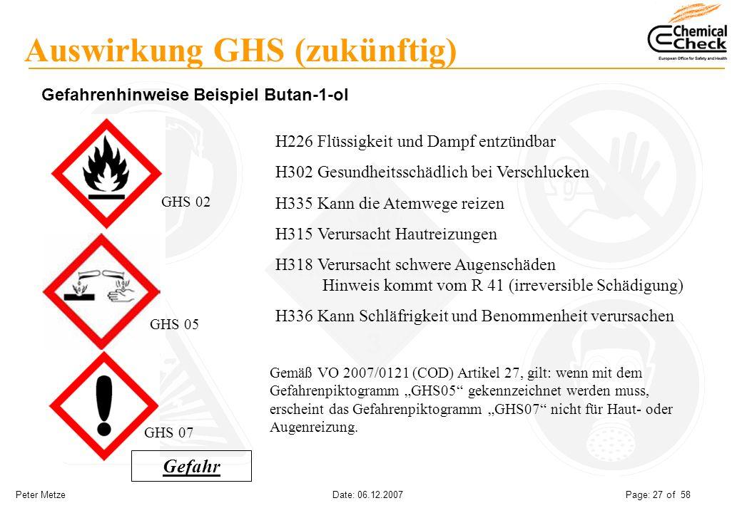 Peter Metze Date: 06.12.2007 Page: 27 of 58 Auswirkung GHS (zukünftig) Gefahrenhinweise Beispiel Butan-1-ol H226 Flüssigkeit und Dampf entzündbar H302