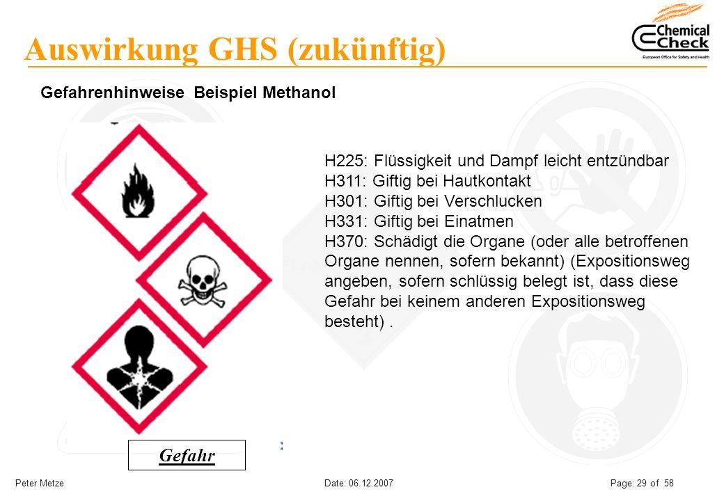 Peter Metze Date: 06.12.2007 Page: 29 of 58 Auswirkung GHS (zukünftig) Gefahrenhinweise Beispiel Methanol H225: Flüssigkeit und Dampf leicht entzündba