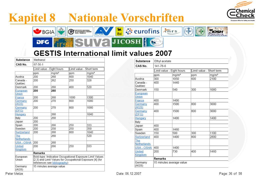 Peter Metze Date: 06.12.2007 Page: 36 of 58 Kapitel 8 Nationale Vorschriften
