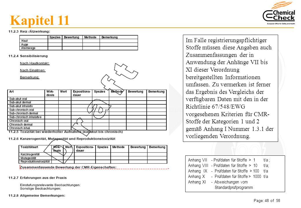 Peter Metze Date: 06.12.2007 Page: 48 of 58 Kapitel 11 Im Falle registrierungspflichtiger Stoffe müssen diese Angaben auch Zusammenfassungen der in An
