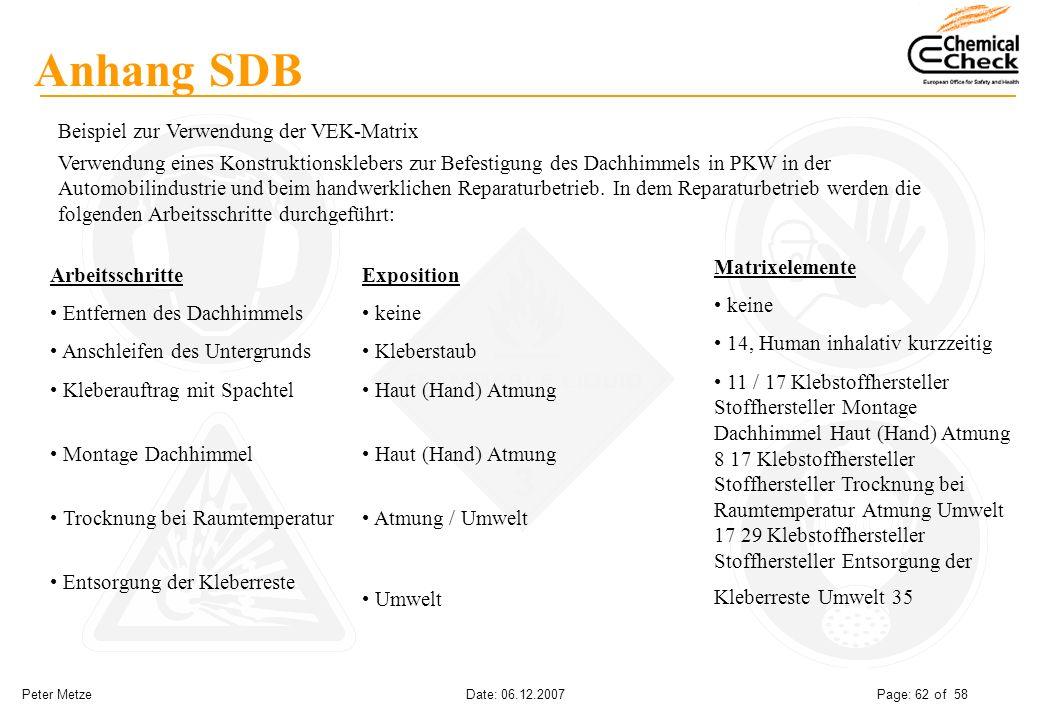 Peter Metze Date: 06.12.2007 Page: 62 of 58 Anhang SDB Beispiel zur Verwendung der VEK-Matrix Verwendung eines Konstruktionsklebers zur Befestigung de