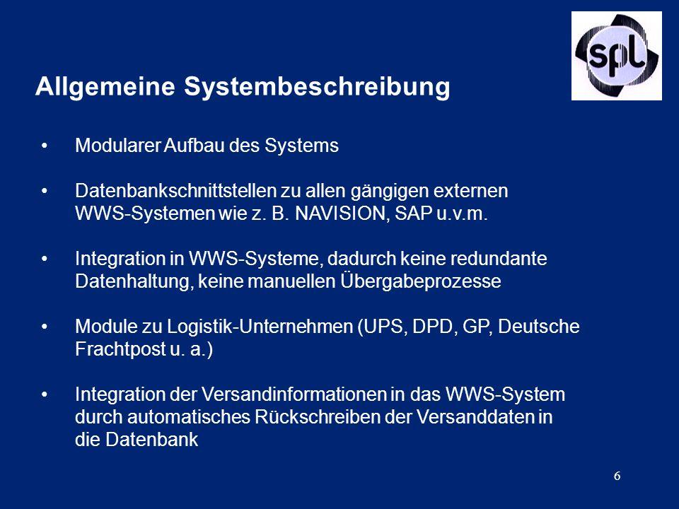 6 Allgemeine Systembeschreibung Modularer Aufbau des Systems Datenbankschnittstellen zu allen gängigen externen WWS-Systemen wie z. B. NAVISION, SAP u