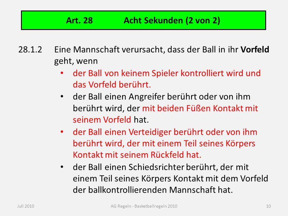 Art. 28Acht Sekunden (2 von 2) Juli 2010AG Regeln - Basketballregeln 2010 28.1.2Eine Mannschaft verursacht, dass der Ball in ihr Vorfeld geht, wenn de