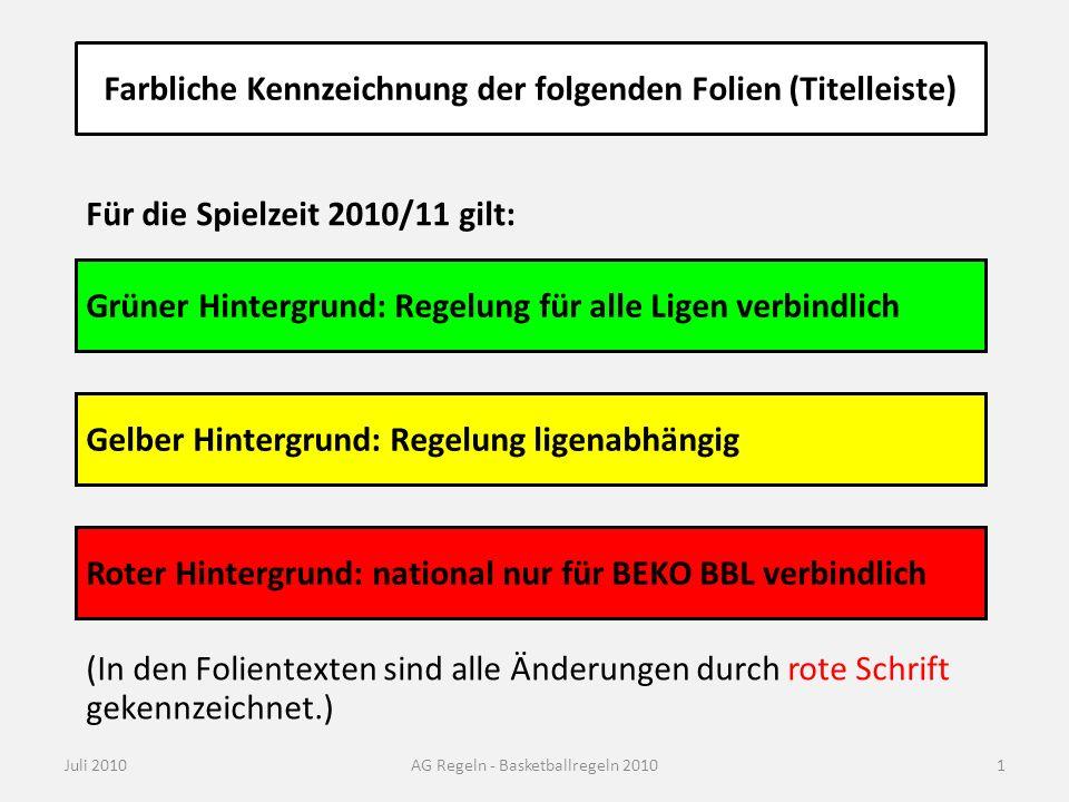 Farbliche Kennzeichnung der folgenden Folien (Titelleiste) Juli 2010AG Regeln - Basketballregeln 2010 Gelber Hintergrund: Regelung ligenabhängig Grüne