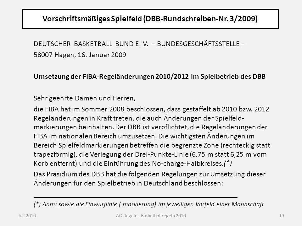 Vorschriftsmäßiges Spielfeld (DBB-Rundschreiben-Nr. 3/2009) Juli 2010AG Regeln - Basketballregeln 2010 DEUTSCHER BASKETBALL BUND E. V. – BUNDESGESCHÄF