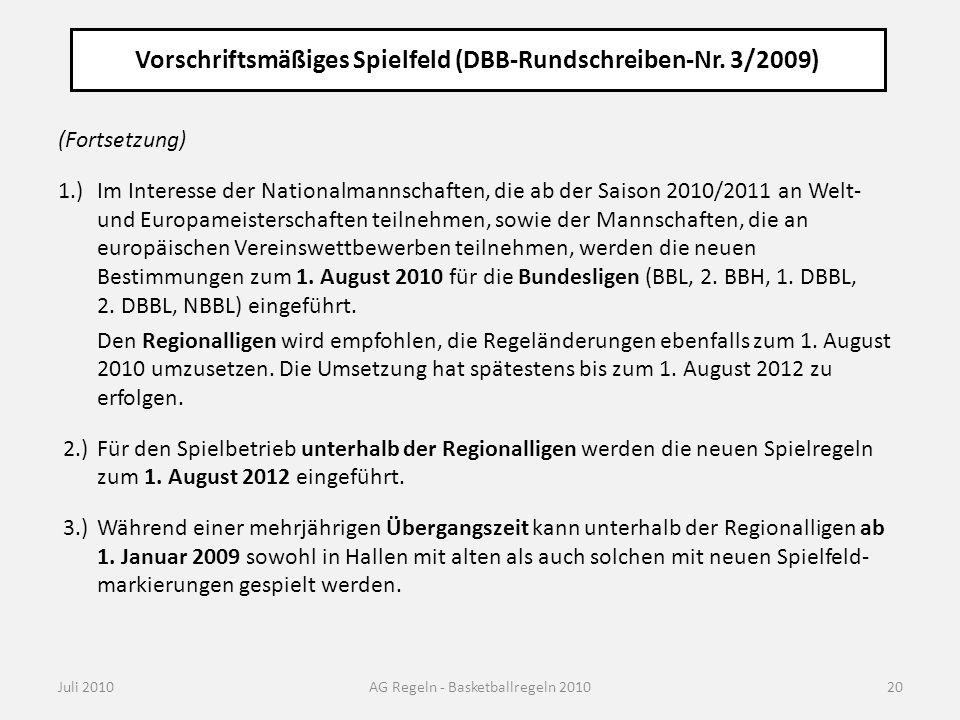 Vorschriftsmäßiges Spielfeld (DBB-Rundschreiben-Nr. 3/2009) Juli 2010AG Regeln - Basketballregeln 2010 (Fortsetzung) 1.)Im Interesse der Nationalmanns