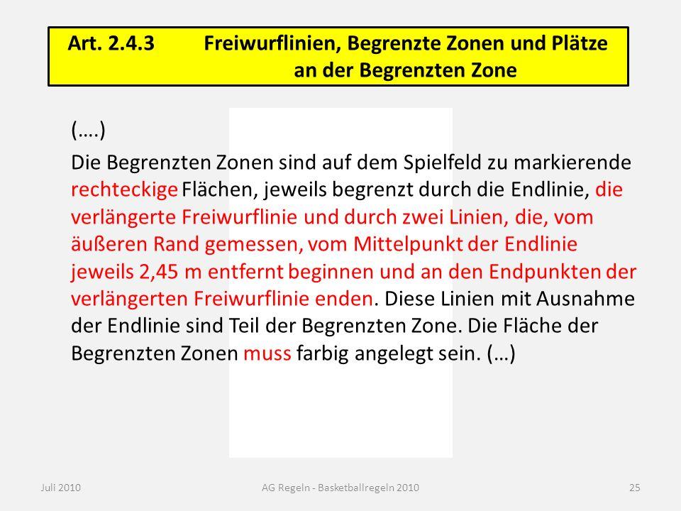 Art. 2.4.3Freiwurflinien, Begrenzte Zonen und Plätze an der Begrenzten Zone Juli 2010AG Regeln - Basketballregeln 2010 (….) Die Begrenzten Zonen sind