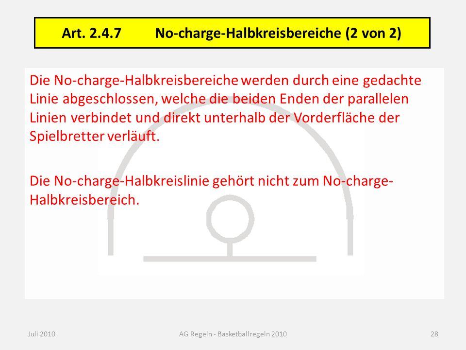 Die No-charge-Halbkreisbereiche werden durch eine gedachte Linie abgeschlossen, welche die beiden Enden der parallelen Linien verbindet und direkt unt