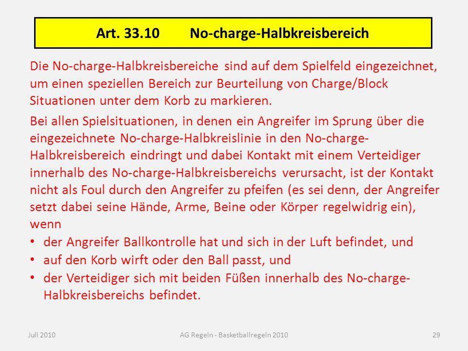 Art. 33.10No-charge-Halbkreisbereich Juli 2010AG Regeln - Basketballregeln 2010 Die No-charge-Halbkreisbereiche sind auf dem Spielfeld eingezeichnet,