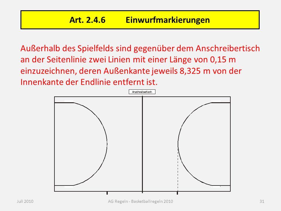 Außerhalb des Spielfelds sind gegenüber dem Anschreibertisch an der Seitenlinie zwei Linien mit einer Länge von 0,15 m einzuzeichnen, deren Außenkante