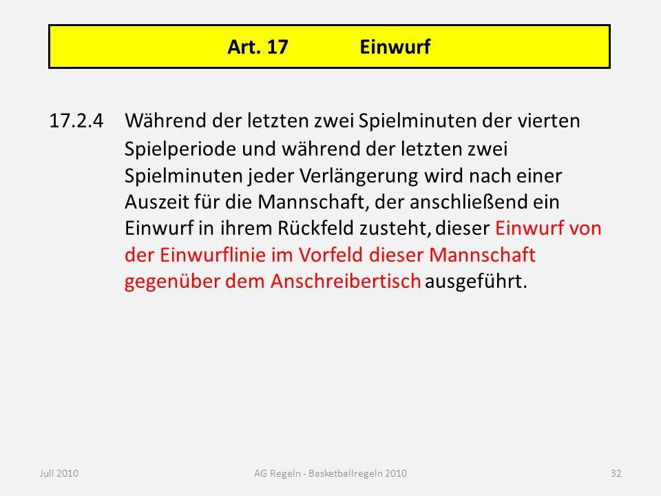 Art. 17 Einwurf Juli 2010AG Regeln - Basketballregeln 2010 17.2.4Während der letzten zwei Spielminuten der vierten Spielperiode und während der letzte