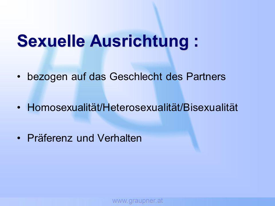 www.graupner.at Sexuelle Ausrichtung: Sexuelle Ausrichtung : bezogen auf das Geschlecht des Partners Homosexualität/Heterosexualität/Bisexualität Präferenz und Verhalten