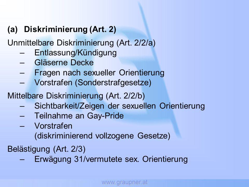 www.graupner.at (a)Diskriminierung (Art. 2) Unmittelbare Diskriminierung (Art.