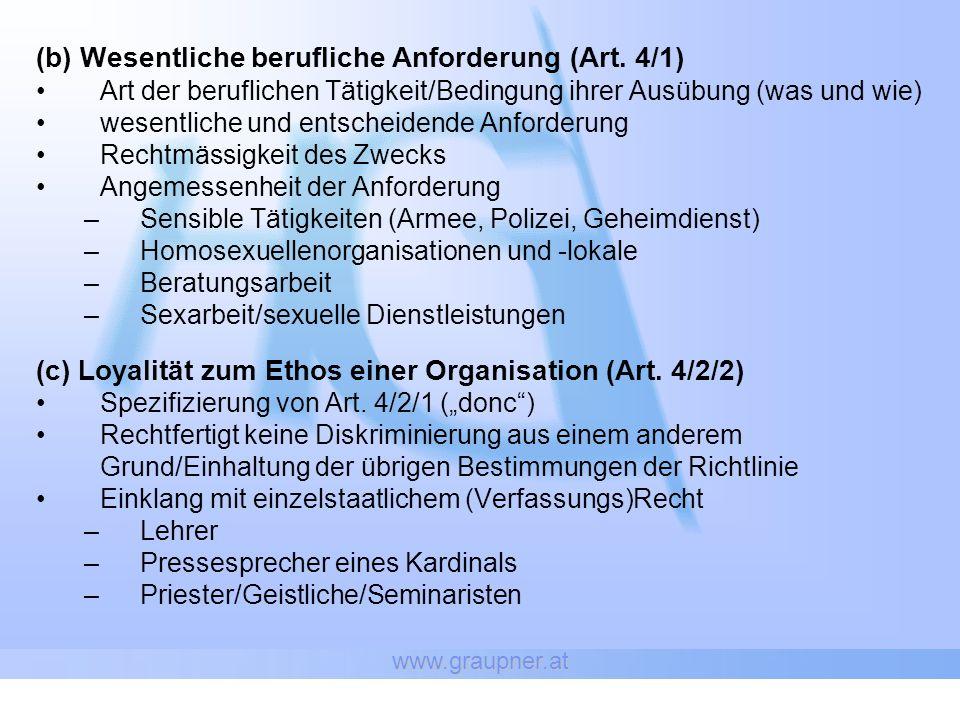 www.graupner.at (b) Wesentliche berufliche Anforderung (Art.