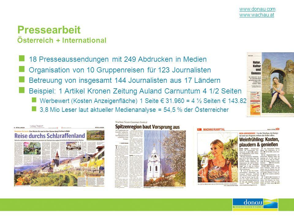 www.donau.com www.wachau.at Pressearbeit Österreich + International 18 Presseaussendungen mit 249 Abdrucken in Medien Organisation von 10 Gruppenreise