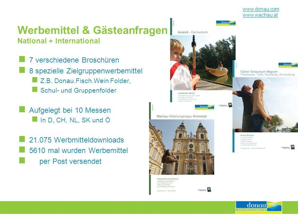 www.donau.com www.wachau.at Werbemittel & Gästeanfragen National + International 7 verschiedene Broschüren 8 spezielle Zielgruppenwerbemittel Z.B. Don