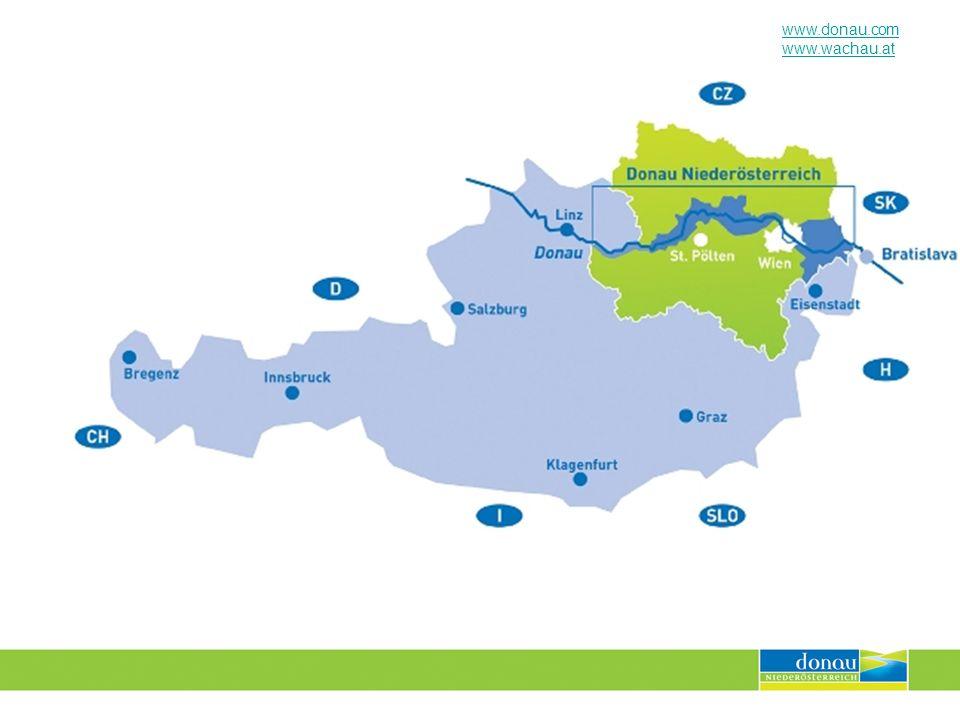 www.donau.com www.wachau.at Tourismusjahr 2008 Bilanz EURO 2008 Österreichweit leichter Rückgang der Nächtigungen im Juni Donau NÖ: D -12,9 Prozent, Ö + 7,8 Prozent Langfristige Imageeffekte + Werbewirkung zu erwarten Hochkarätige VIP Gäste in der Region Imagetransfer: Ö stand im Mittelpunkt der Weltöffentlichkeit