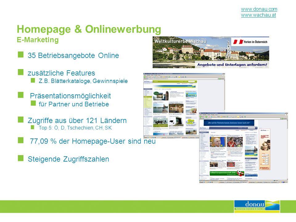 www.donau.com www.wachau.at Homepage & Onlinewerbung E-Marketing 35 Betriebsangebote Online zusätzliche Features Z.B. Blätterkataloge, Gewinnspiele Pr