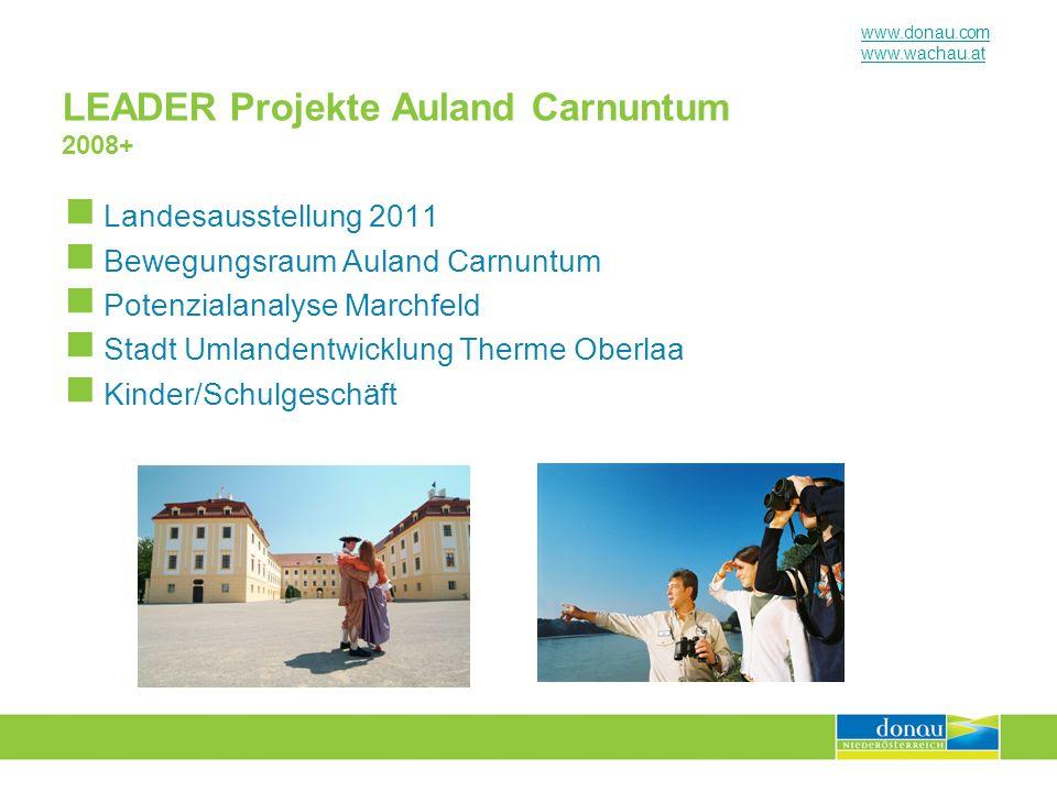 www.donau.com www.wachau.at LEADER Projekte Auland Carnuntum 2008+ Landesausstellung 2011 Bewegungsraum Auland Carnuntum Potenzialanalyse Marchfeld St