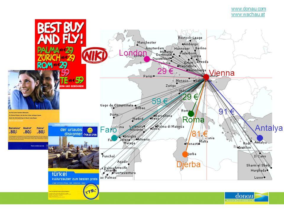 www.donau.com www.wachau.at Vienna 29 London 29 Antalya 91 Roma 81 Djerba 59 Faro