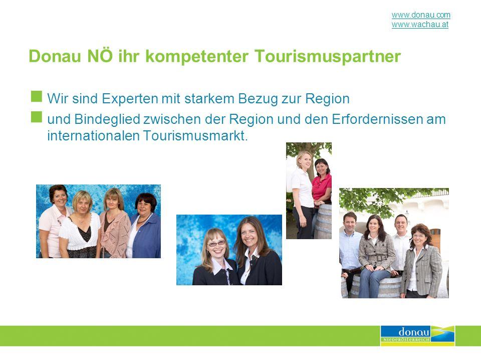 www.donau.com www.wachau.at Donau NÖ ihr kompetenter Tourismuspartner Wir sind Experten mit starkem Bezug zur Region und Bindeglied zwischen der Regio