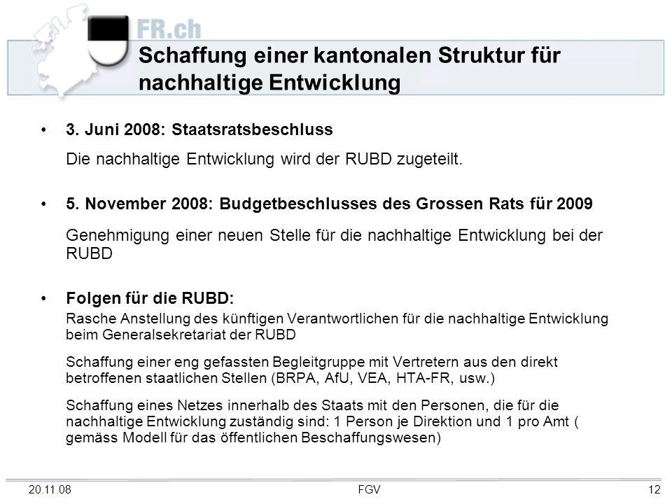 20.11.08 FGV 12 Schaffung einer kantonalen Struktur für nachhaltige Entwicklung 3. Juni 2008: Staatsratsbeschluss Die nachhaltige Entwicklung wird der